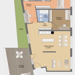 4-Zimmer-Apartment mit Terrasse