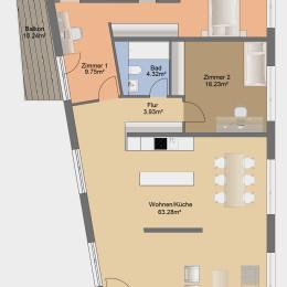 4-Zimmer-Apartment mit Balkon