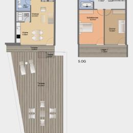 Dachgeschoss-Maisonette-Apartment mit Terrasse und Balkon