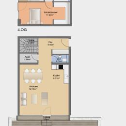 Dachgeschoss-Maisonette-Apartment mit Dachterrasse