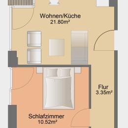 2-Zimmer-Apartment mit Loggia und Einbauküche