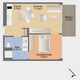 Single-Apartment mit Balkon und Einbauküche