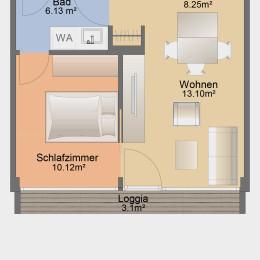 Single-Apartment mit Loggia und Einbauküche