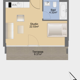 Studio-Apartment mit Terrasse