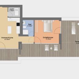 2-Zimmer-Apartment mit Dachterrasse und Einbauküche